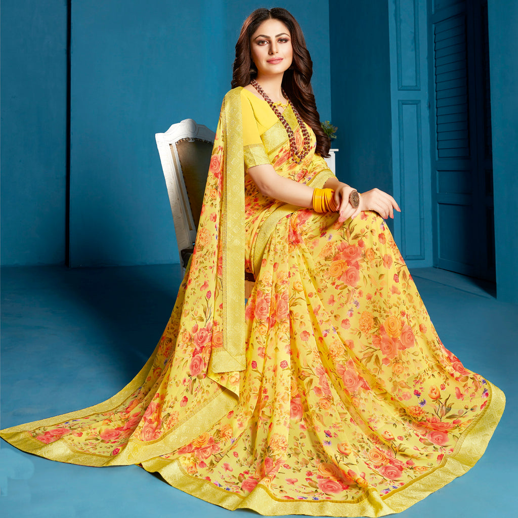 Yellow Color Georgette Floral Print Sarees NYF-5299