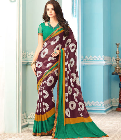 Burgandy Color Wrinkle Chiffon Kitty Party Sarees : Swini Collection YF-70440