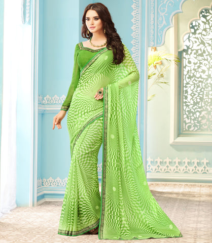 Green Color Wrinkle Chiffon Kitty Party Sarees : Swini Collection YF-70441
