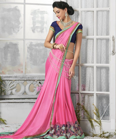 Pink Color Crepe Georgette Designer Festive Sarees : Shairti Collection  YF-46864