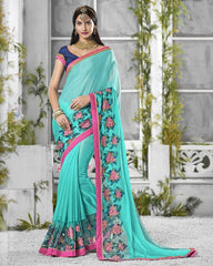 Sea Green Color Crepe Georgette Designer Festive Sarees : Shairti Collection  YF-46865