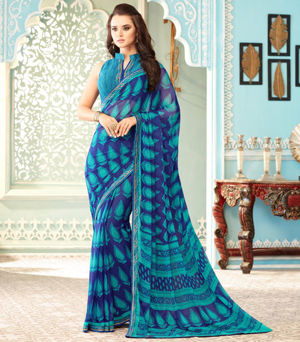 Blue & Sea Green Color Wrinkle Chiffon Kitty Party Sarees : Swini Collection YF-70445