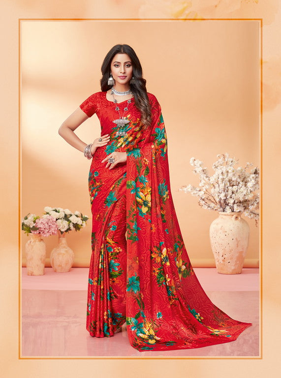 Red Color Silk Jacquard Kitty Party Wear saree -Kashika Collection YF#10172