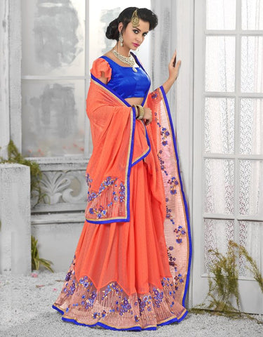 Orange Color Georgette Designer Festive Sarees : Shairti Collection  YF-46866