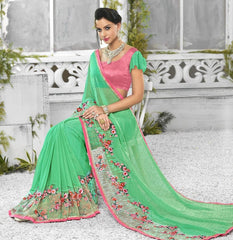 Green Color Georgette Designer Festive Sarees : Shairti Collection  YF-46867