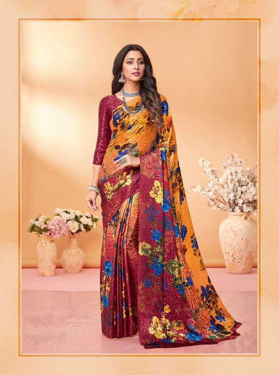 Yellow and MauveColor Silk Jacquard Kitty Party Wear saree -Kashika Collection YF#10173