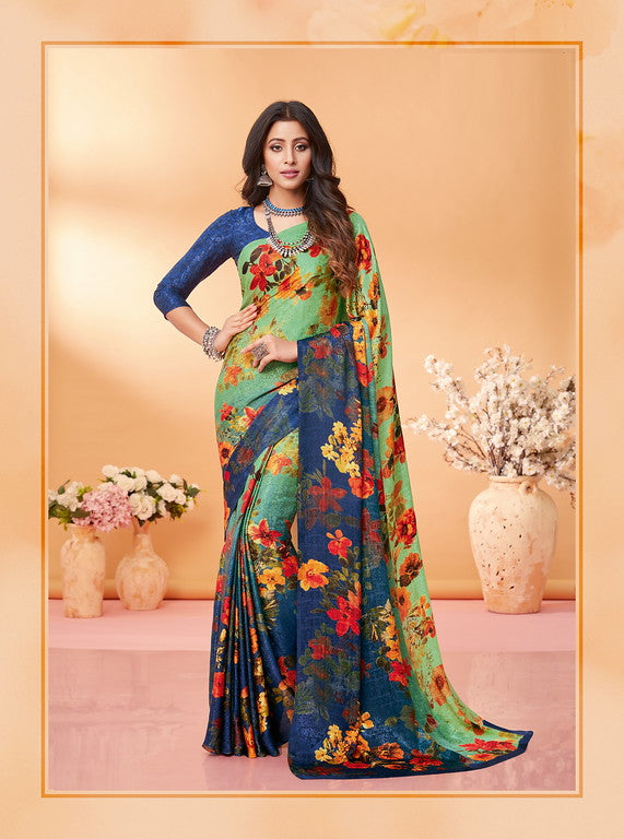 Green and Blue Color Silk Jacquard Kitty Party Wear saree -Kashika Collection YF#10174