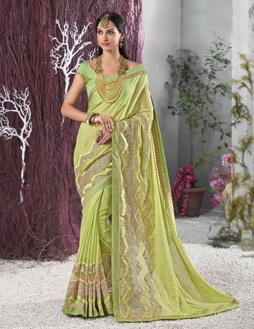 Parrot Green Color Wrinkle Chiffon Designer Festive Sarees : Shairti Collection  YF-46868