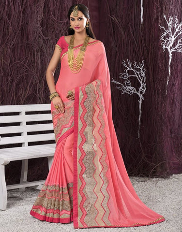 Pink Color Wrinkle Chiffon Designer Festive Sarees : Shairti Collection  YF-46869