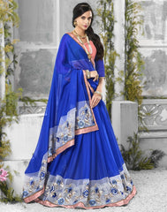 Blue Color Wrinkle Chiffon Designer Festive Sarees : Shairti Collection  YF-46870
