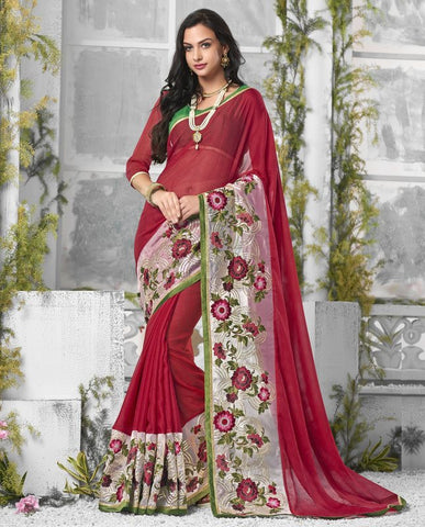 Red Color Wrinkle Chiffon Designer Festive Sarees : Shairti Collection  YF-46871