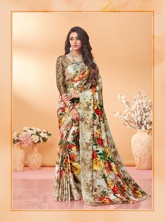 Off White and Brown Color Silk Jacquard Kitty Party Wear saree -Kashika Collection YF#10177