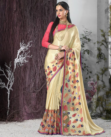 Golden Color Wrinkle Chiffon Designer Festive Sarees : Shairti Collection  YF-46873