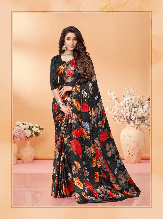 Charcoal Black Color Silk Jacquard Kitty Party Wear saree -Kashika Collection YF#10179