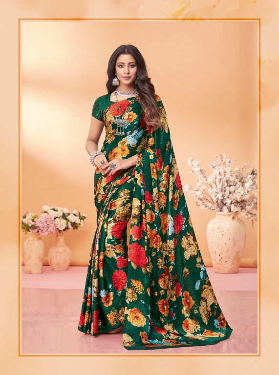 Bottle Green Color Silk Jacquard Kitty Party Wear saree -Kashika Collection YF#10180