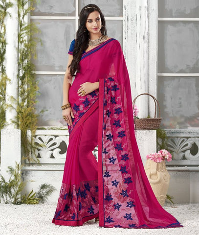 Rani Pink Color Wrinkle Chiffon Designer Festive Sarees : Shairti Collection  YF-46874