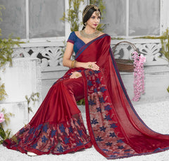 Red Color Wrinkle Chiffon Designer Festive Sarees : Shairti Collection  YF-46875