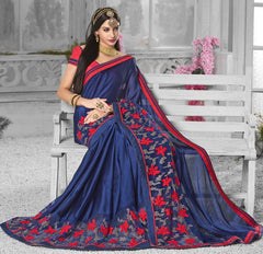 Blue Color Wrinkle Chiffon Designer Festive Sarees : Shairti Collection  YF-46876