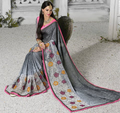 Grey Color Georgette Designer Festive Sarees : Shairti Collection  YF-46877