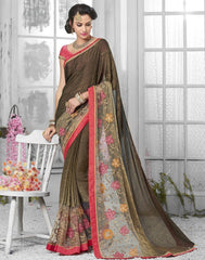Copper Color Georgette Designer Festive Sarees : Shairti Collection  YF-46878