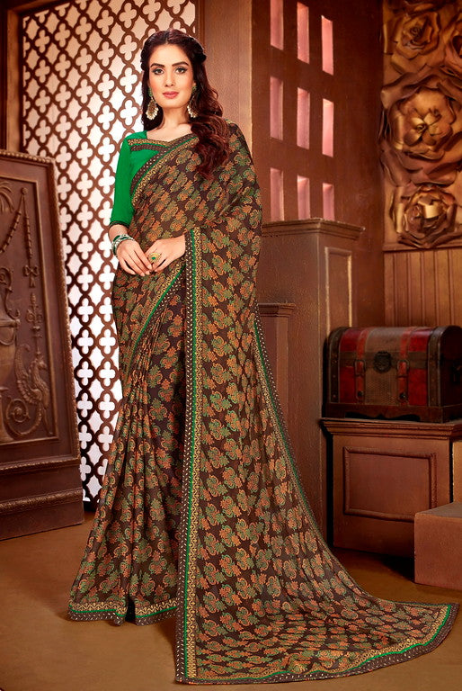 Brown and Green Color Georgette Casual Wear Saree-  Orchid Collection  YF#11529