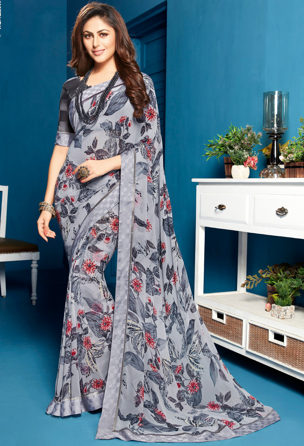 Grey Color Georgette Floral Print Sarees NYF-5300