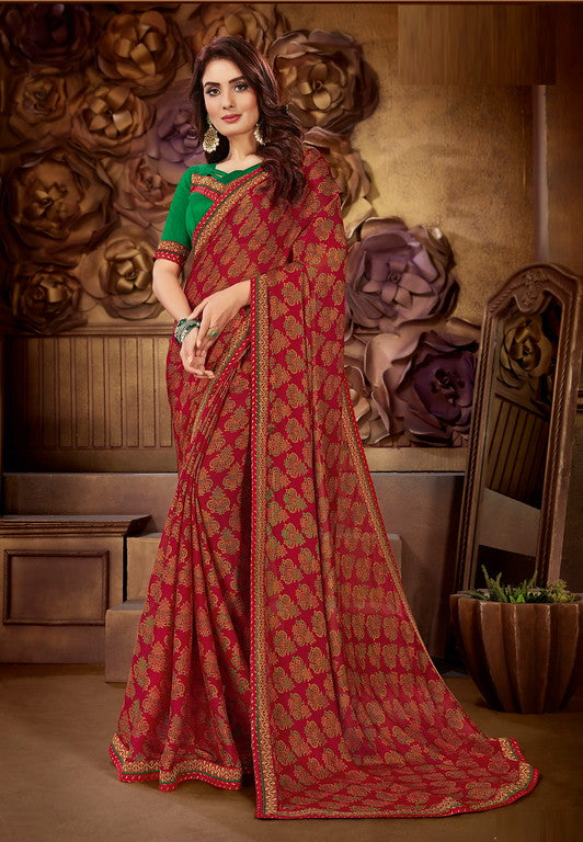 Maroon and Green Color Georgette Casual Wear Saree-  Orchid Collection  YF#11531