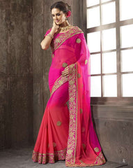 Shades of Pink Color Wrinkle Chiffon Function & Party Wear Sarees : Vaidehi Collection  YF-32144