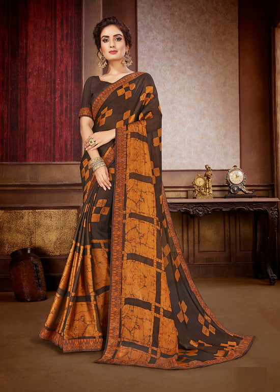Shades of Brown Color Georgette Casual Wear Saree-  Orchid Collection  YF#11533