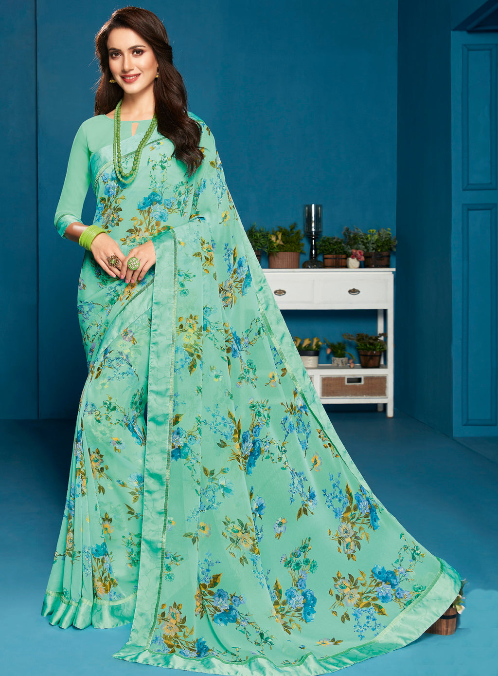 Sea Green Color Georgette Floral Print Sarees NYF-5301