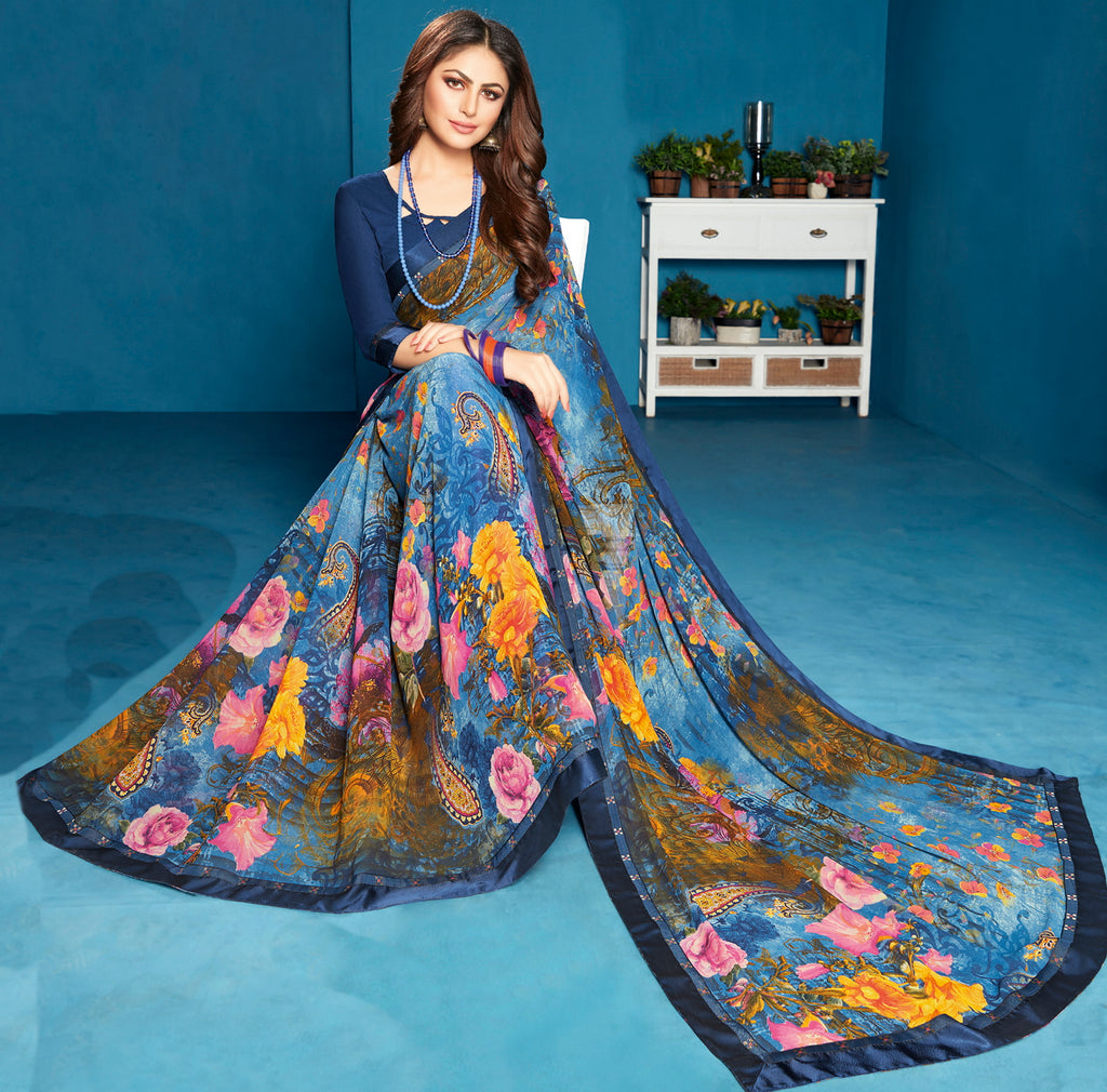 Multi Color Georgette Floral Print Sarees NYF-5302