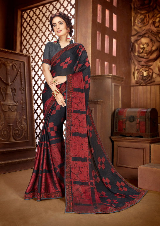 Black and Red Color Georgette Casual Wear Saree-  Orchid Collection  YF#11536