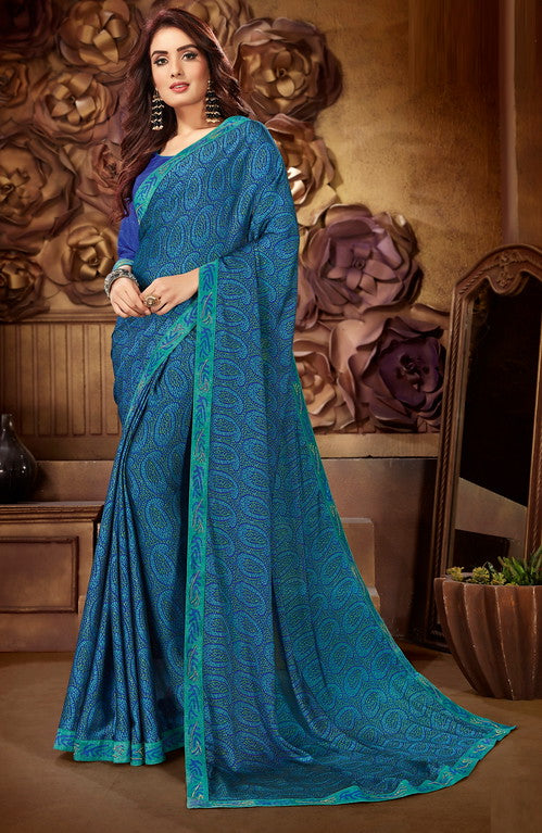 Blue Color Georgette Casual Wear Saree-  Orchid Collection  YF#11537