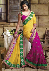 Yellow and Pink  Colour  Wrinkle chiffon and brasso  Material Designer Sarees : Classy Collection -  YF-12667