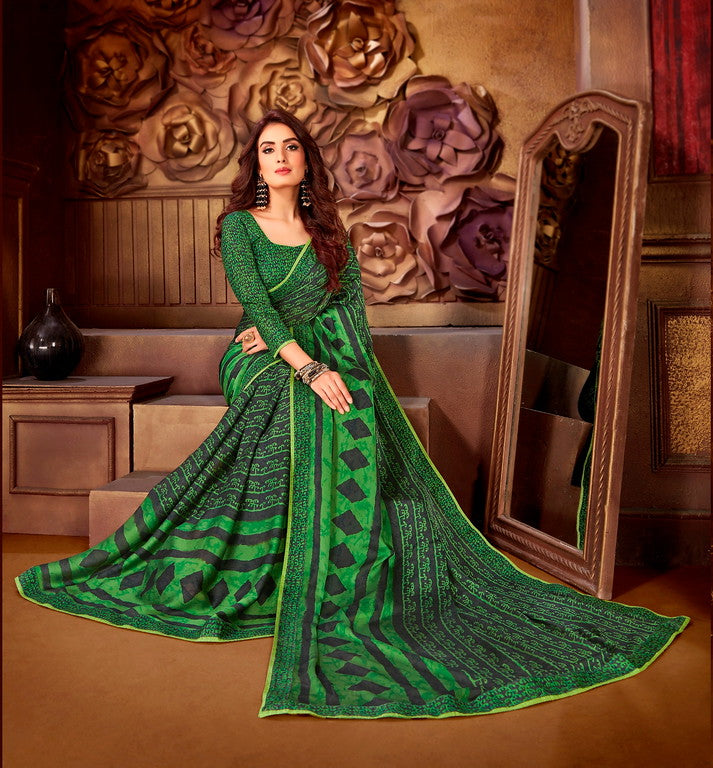 Grey and Green Color Georgette Casual Wear Saree-  Orchid Collection  YF#11538