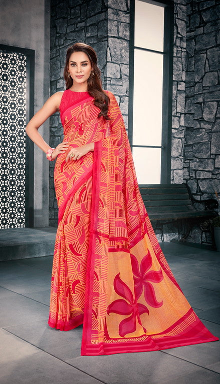 Orange and pInk Color Georgette Casual Wear Saree-  Vishruti Collection  YF#11434