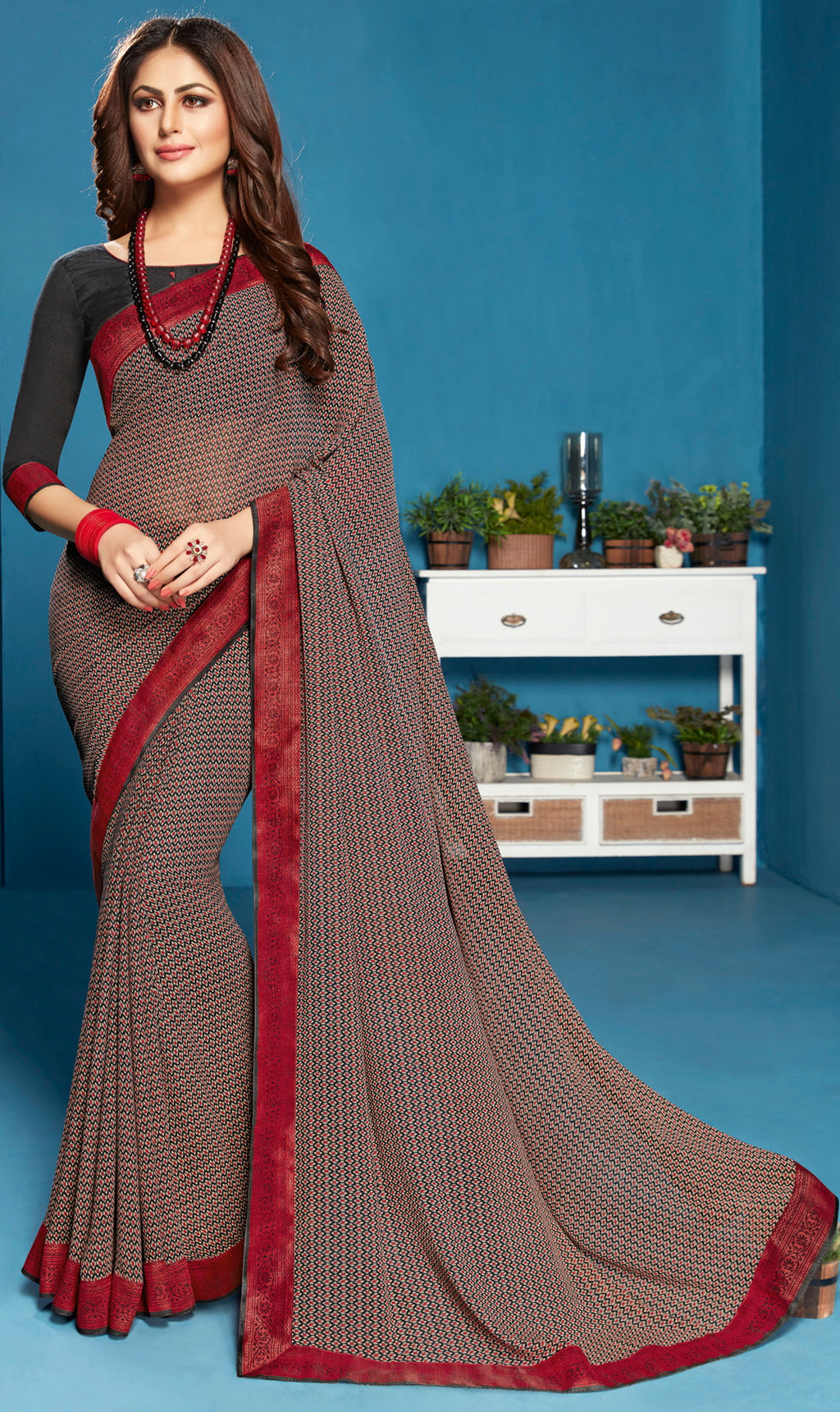 Black Color Georgette Casual Printed Sarees NYF-5303