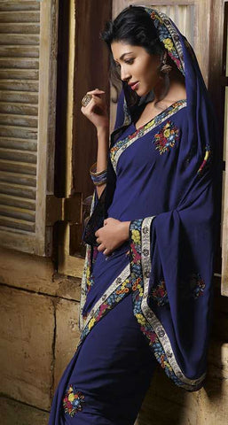 Navy Blue  Colour  Georgette  Material Designer Sarees : Classy Collection -  YF-12678