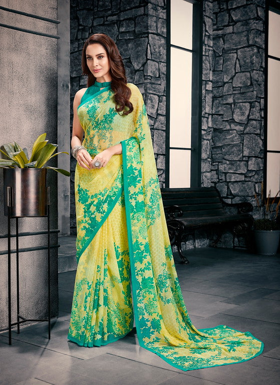 Yellow and Sea Green  Color Georgette Casual Wear Saree-  Vishruti Collection  YF#11442
