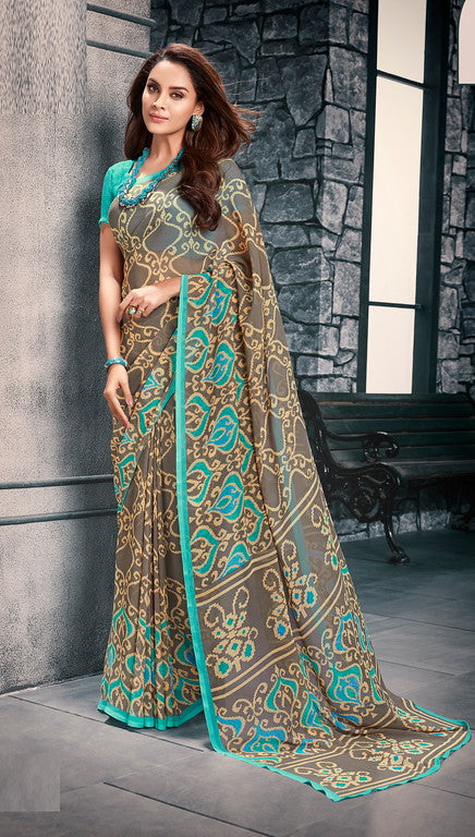 Ash and Blue Color Georgette Casual Wear Saree-  Vishruti Collection  YF#11444