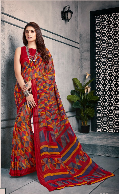 Red, Yellow  and Grey Color Georgette Casual Wear Saree-  Vishruti Collection  YF#11445