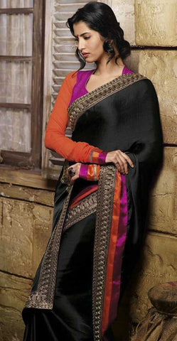 Black  Colour  wrinkle chiffon  Material Designer Sarees : Classy Collection -  YF-12685