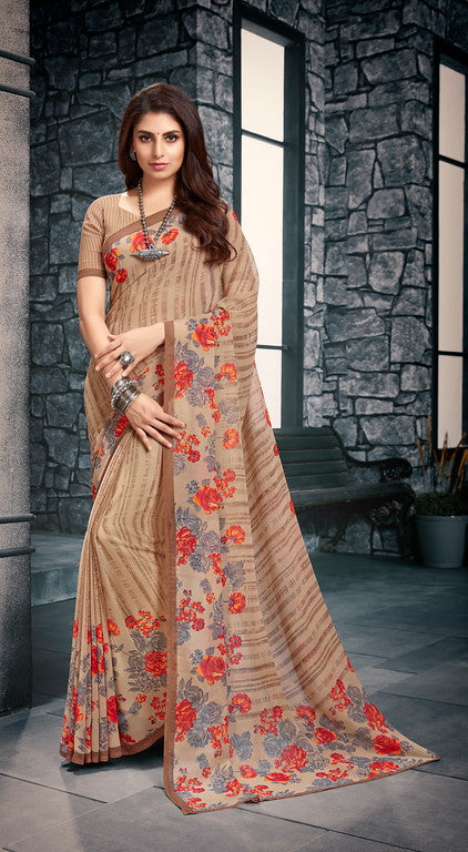 Shades of Brown Color Georgette Casual Wear Saree-  Vishruti Collection  YF#11451