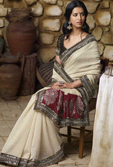Cream  Colour  Jacquard Brasso  Material Designer Sarees : Classy Collection -  YF-12694