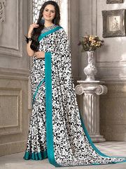 White & Black Color Crepe Office Wear Sarees : Priyasi Collection  YF-47611