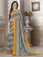 Black, White & Mustard Yellow Color Crepe Office Wear Sarees : Priyasi Collection  YF-47612