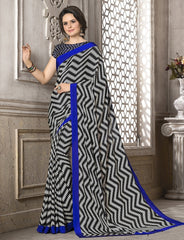 Black, White & Blue Color Crepe Office Wear Sarees : Priyasi Collection  YF-47613