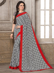 Black, White & Red Color Crepe Office Wear Sarees : Priyasi Collection  YF-47614