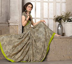 Light Coffee & Black Color Crepe Office Wear Sarees : Priyasi Collection  YF-47615