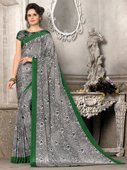 Black, White & Green Color Crepe Office Wear Sarees : Priyasi Collection  YF-47616